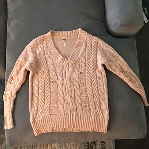 Sweaters - Over-Sized Pink Sweater with distressed design